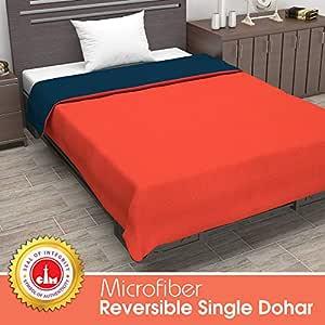 Divine Casa Polyester 110TC Blanket (Single_Orange And Blue)