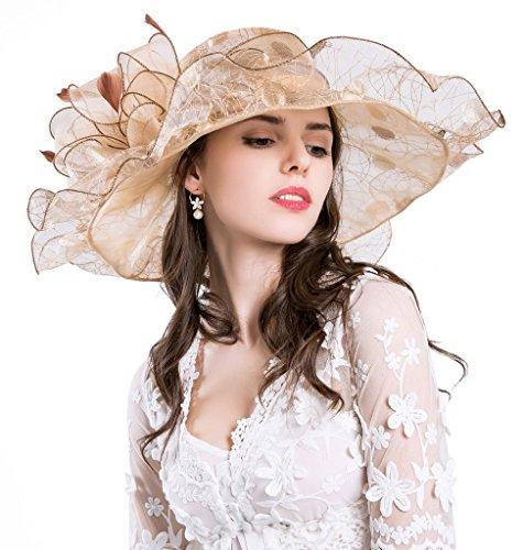 Derby Hüte für Damen Urlaub Organza Fascinator Britische Tee-Party-Hochzeits-Kleid-Kappe Mysteriöses UPF 50+ Gold (Kleid, Derby Hut)