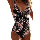 Beikoard Badeanzug Damen Figurformend Push Up Sportlich Jumpsuit Beachwear Bademode Strandmode Regenbogen siamesischer Bikini Blumendruck-BH