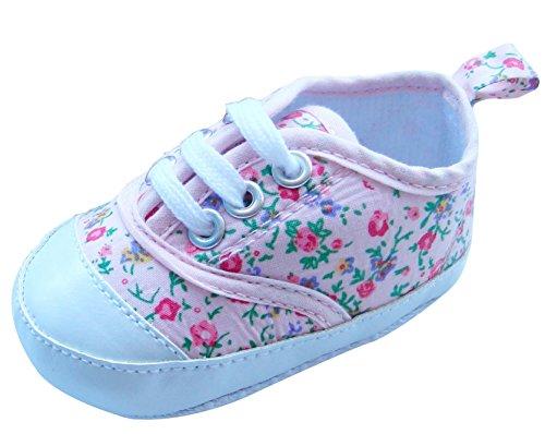 Mabini - Chaussures à lacets pour bébé - motif floral - fille rose clair