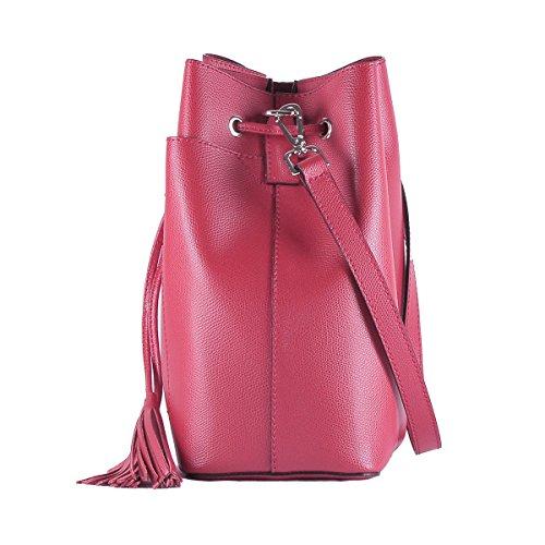 BORDERLINE - 100% Made in Italy - Bucket Bag Frauen Echtes Leder - CLAUDIA Fuchsie