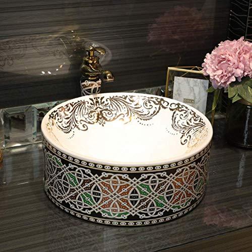 Europa-Art-handgemachtes Countertop-keramisches Badezimmer-Bassin-Waschbecken-Keramikwaschbecken-Porzellankunst-Bassinwaschbecken-Gegenstück cxjff