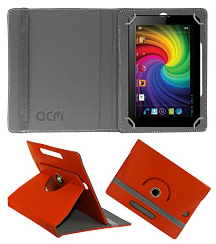 Acm Rotating 360° Leather Flip Case for Micromax Funbook Mini P410 Cover Stand Orange  available at amazon for Rs.149