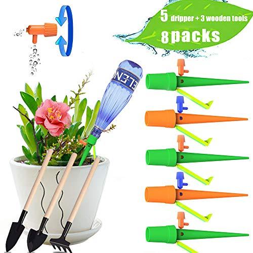 Vistefly 5pcs Riego automático Riego Espiga Planta Picos de riego Riego automático Planta de Vacaciones Waterer Planta de jardín Flor Goteo(8 Packs = 5 gotero + 3 Pala)