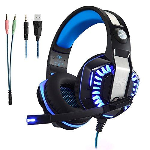 Casque Gaming Gamer PC PS4 avec Micro, Micolindun Audio avec Basses, Anti-Bruit, LED, Compatible pour Xbox One Laptop Mac Phone, Adaptateur Inclus