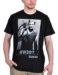 T-shirt Walking Dead Daryl Dixon, impression grand format sur le thème du classique d'horreur - Sous licence - Noir