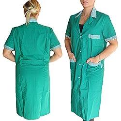 Bata de mujer de escuela y trabajo para maestras, limpiadoras, operarios de fábrica y botones, verde, S