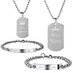 Idea Regalo - Lictin 4 pezzi Coppia braccialetto collana Set sua regina il suo re Acciaio inossidabile, relazione amante Mens donna bracciali e collana Compleanno Natale matrimonio regalo di San Valentino