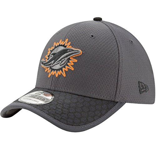 Miami Dolphins New Era NFL 39THIRTY 2017 Sideline Graphite Flex Fit Hat Hut Flex Hut