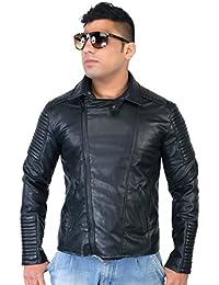 Caveliro Men's Black Sideways Zip Faux Leather Biker Jacket