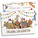 15x Einladungskarten für Kindergeburtstag | Safari-Tiere | Für Jungen & Mädchen | Einladungskarten Geburtstag Kinder Junge Zoo | Partyeinladungen Jungs Mitgebsel Löwe bunt Geburtstagseinladungen