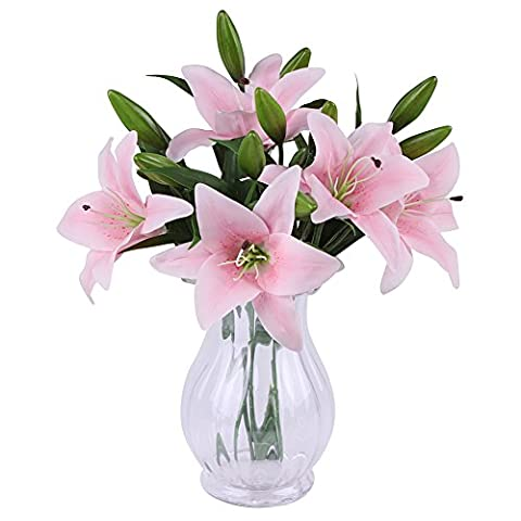 SUNNIOR 1 Bunch 3 Head White Lily Perfume Artificial Flower Bouquet Wedding / Graves / Vases,Pink