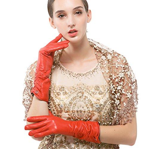 Nappaglo Damen Italienisches Lammfell Leder Handschuhe Winter Warm Langes Fleecefutter Handschuhe (XL (Umfang der Handfläche:20.3-21.6cm), Rot(Non-Touchscreen)) Xl Lange Handschuhe
