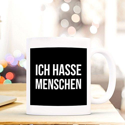 Tasse mit Spruch - Ich hasse Menschen - Frühstück - Kaffeetasse - lustig - Arbeit - Büro - Geschenk