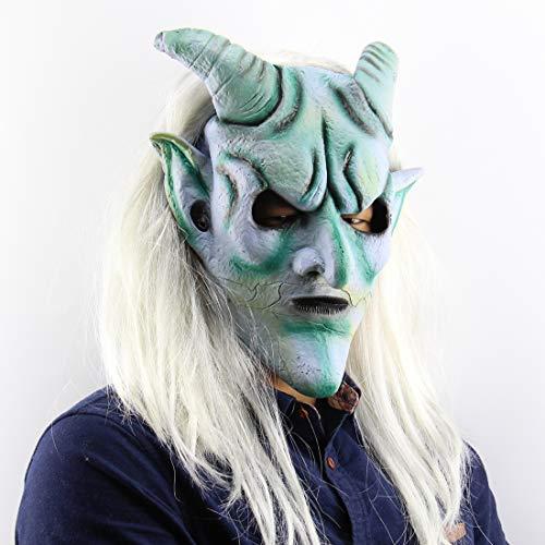 AHDA Lange Haare Silberhorn König Maske, Halloween Kostüm Requisiten, Latex Horror Maske
