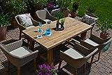 Garten-Garnitur Jakarta 200*100 recyceltes Teak plus 6 bequeme Sessel Polyrattan und Teak Holz