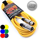 Male to Female XLR Lead - 6m Yellow Balanced Microphone Mic Cable No Bull