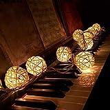 WINWINTOM 10 LED-Farbe Rattan-Kugel-Schnur-feenhafte Lichter für Weihnachtshochzeitsfest Heiß (Beige)