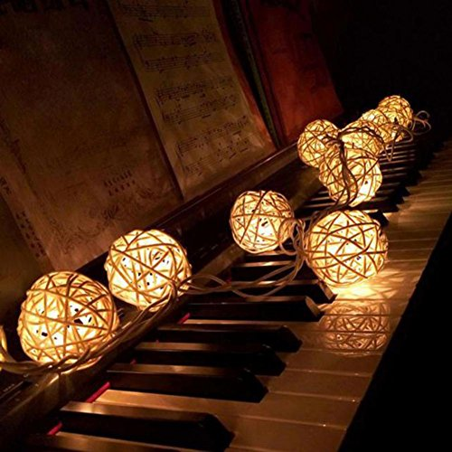 WINWINTOM 10 LED-Farbe Rattan-Kugel-Schnur-feenhafte Lichter für Weihnachtshochzeitsfest Heiß (Kontakte Halloween Farbe)