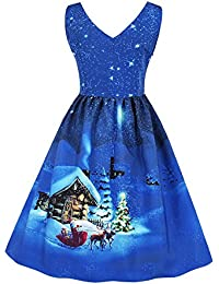 687704af983 Tomatoa Merry Christmas!Plus Size Womens Santa Christmas Party Dress  Vintage Xmas Swing Skater Dress Ladies Jumper Short Sleeve Plain A…