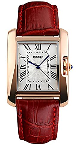 CIVO Ladies Watches Red Genuine Leather Band Women Watch Simple Design Classic Fashion Business Casual Dress Bracelet Watch Analogue Quartz Wristwatch Rose Gold White Square Dial