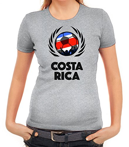 ShirtStreet World Cup Wappen Soccer Fussball WM Fanfest Gruppen Fan Wappen Damen T-Shirt Fußball Costa Rica Graumeliert