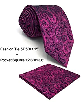 SHLAX&WING Luxury Corbatas Para Hombre Morado Cachemir Tie Set for Boda Party Long