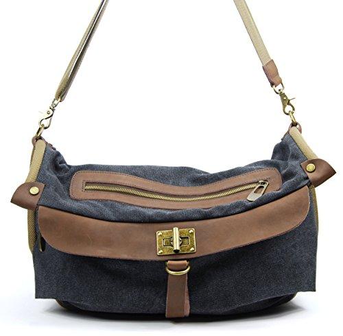 OH MY BAG Sac à main femme en CUIR et TOILE porté épaule Modèle BARBADE Nouvelle Collection NOIR
