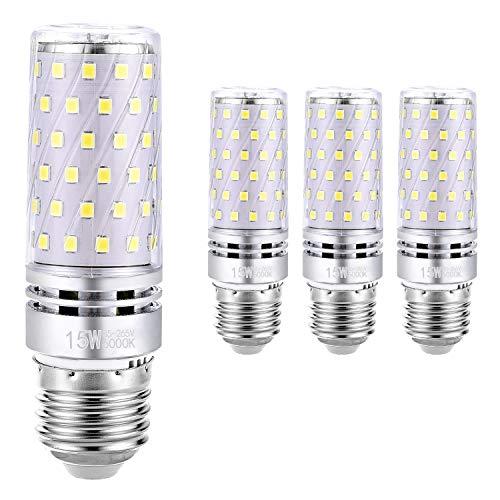 Hzsane E27 Bombilla de Maíz LED 15W, 6000K Blanco Frío, 120W Incandescente Bombillas Equivalentes, 1500Lm, Edison Tornillo Bombillas LED, 4-Pack
