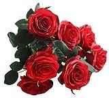 MARRYME Kunstblumen Künstliche Rosen Seide Blumen Blatt Hochzeit Bouquet Braut Strauß Home Party Dekoration Fake Blume Rot