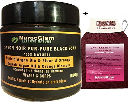 Savon Noir à l'Huile d'Argan Bio et fleur d'oranger 250g + Gant Kessa luxueux pour gommage corps et...