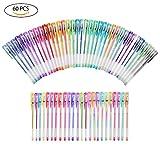 YOHOOLYO 60PCS Stylos Gel Pailletté Multicolores Crayons Gel Stylos Billes à Encre Gel avec Une Boîte Feutre Fin pour Dessin