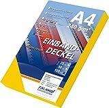 100 Einbanddeckel Lederstruktur, Falambi / Premium 240 Rückenkarton (gelb)