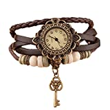 Doitsa Mode-Accessoires Retro Weave Wrap Um Leder Armband mit Schlüssel Anhänger Dame Armbanduhr Frauen Quarz Natur Stlye Uhr Khaki