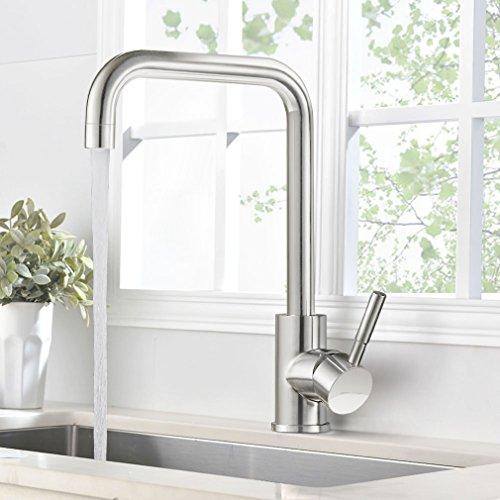 BONADE Gebürstet Küchearmatur Spültischarmatur 360° Drehbar Einhebelmischer Wasserhahn aus Edelstahl Spültisch für Küche Waschbecken
