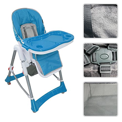 Todeco - Seggiolone Per Bambini, Sedia Pieghevole Per Bambini - Dimensioni letto disteso: 105 x 75 x 60 cm - Materiale: PP - Blu
