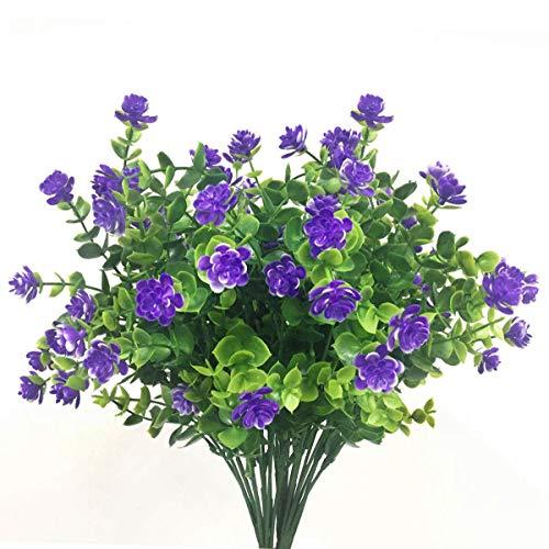 Ymwave 4 Piezas Arbustos Artificiales de Plástico Flores de Hierba de Milan...