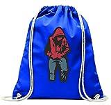 'Turn Bolsa 'Hoodie de color rojo de jeans de hip hop de rap de corazón de Deejay de color Corazón roto con cordón–100% algodón de bolsa Con Asas De Mochila de bolsa de deporte, azul