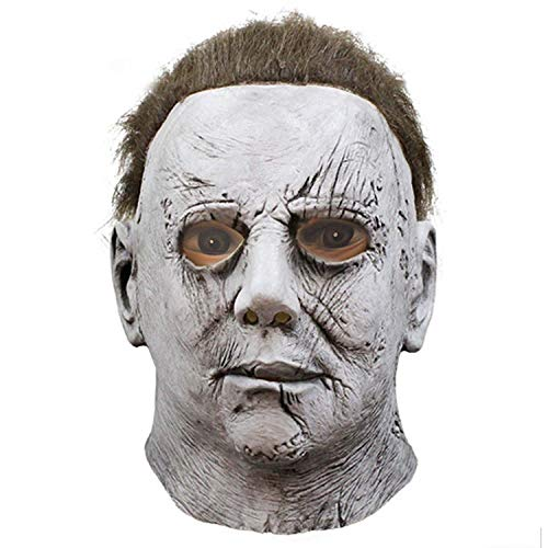 WYJSS Party Geschichte Halloween Maske Kopfschmuck Film Herz Panik weißes Gesicht Horror Latex Maske Cosplay lustige Geschenk Show Dress Up Requisiten,White-OneSize