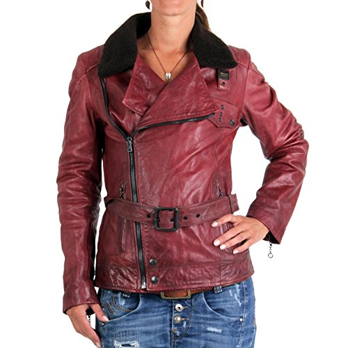 BLAUER USA Damen Winter Lederjacke Red 0749 Größe M
