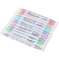 Tandou - Rotuladores fluorescentes de doble cabeza, 12 colores