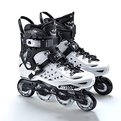 CHEXIAOlbx Professionelle Inline Skates Für Erwachsene Ausgefallene Schuhe Für Männer Und Frauen Anfänger Rollschuhe Flache Schlittschuhe (Color : White, Size : EU 39)