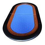 EBS Classic Folding Poker Table Top in Blue Suited Speed Cloth Racetrack - 180cm