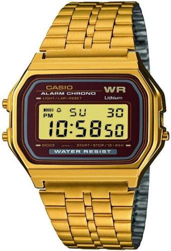 CASIO A159WGEA-5D - Reloj digital de cuarzo con correa de acero inoxidable para hombre, color marrón / dorado