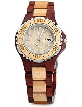 GBlife BEWELL ZS - 100BL Holz Armbanduhr Herrenuhr Quarzwerk Datumsanzeige Retro Stil