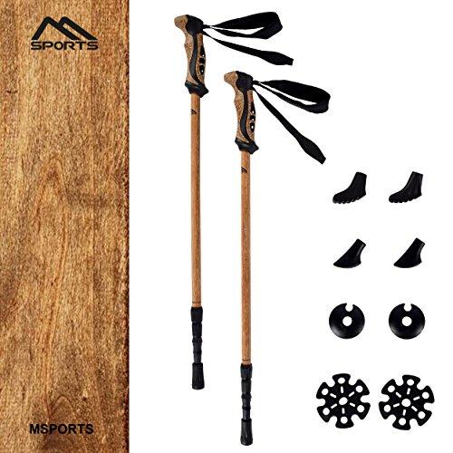 Nordic Walking Stöcke Premium - hochwertiges Holzdesign - Superleicht - auswählbar mit Tragetasche - Walking Sticks (Nordic Walking Stöcke + Tasche)