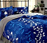 Shop4Indians 120 TC 5D Cotton Double Bed Sheet With 2 Pillow Covers - Blue