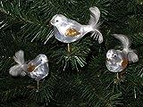 3 tlg. Glas Vogel Set in 'Ice Weiss Gold' - Christbaumkugeln - Weihnachtsschmuck-Christbaumschmuck