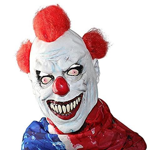 XIAO MO GU Masque de Visage Effrayant en Latex, Masque Décorations de Costumes Halloween Party Cosplay - Cheveux Rouges