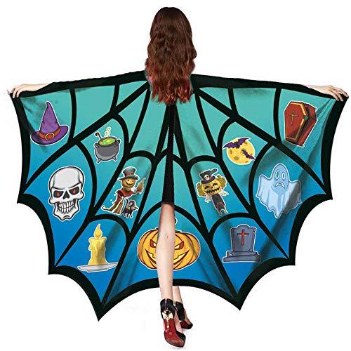 Kobold Hunde Kostüm - WOZOW Damen Schmetterlingsflügel Faschingkostüme Poncho Schal Tuch Umhang Nymphe Pixie für Party Cosplay Karneval Fasching (Türkis)